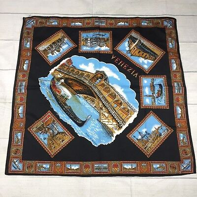Vintage 1990's Venice Themed Scarf Black Blue Made in Italy +Drop Earrings NWOT