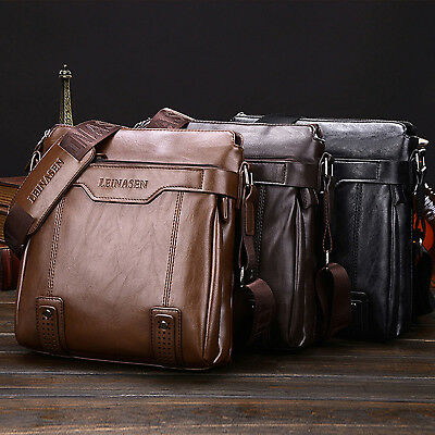 Soft MAX Men Leather Shoulder Briefcase Messenger Cross body Bags Hand Bag NEW