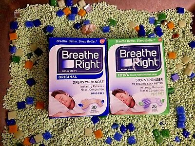 Lot Of 56 Breathe Right Nasal Strips 'various+10 Free Strips!!
