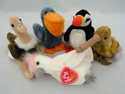 Ty Beanie Babies  (5) Birds - Stretch, Puffer, Beak, Kuku & Scoop - Excellent