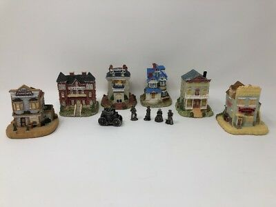 SIX Liberty Falls Americana Collection Houses FIVE Pewter Figurines Collectibles