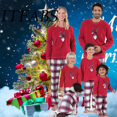 Fashion Adult Kids Christmas Pyjamas Family Matching Pajamas Nightwear Sleepwear