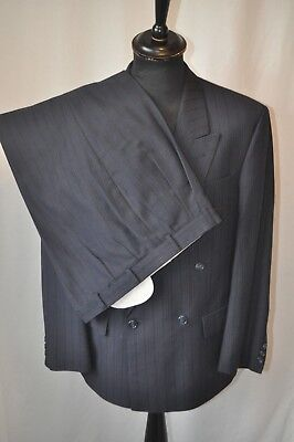 Vintage blue pin stripe double breasted suit size medium chest 40 W 36 gangster