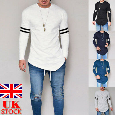 UK Men Longline Blouse Long Sleeve Slim Fit T-shirts Autumn Casual Shirts Tops
