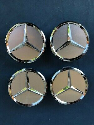 MERCEDES-BENZ 75mm SILVER WITH CHROME STAR WHEEL CENTER CAPS WC4PC501 MB1 1CAP