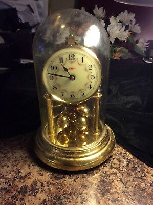 ANNIVERSARY CLOCK MADE IN GERMANY BY KERN DECORATED FACE, VINTAGE FROM THE 1940s