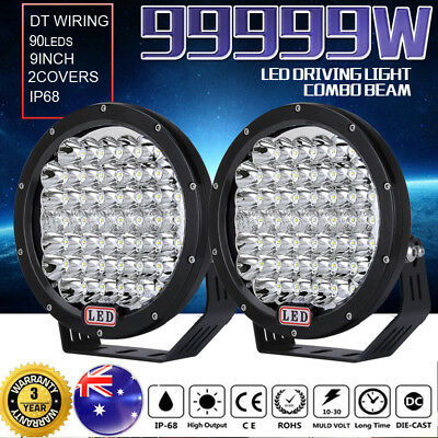 9inch 99999W CREE LED Round Driving Lights Combo Spot Flood Black Offroad Lamp