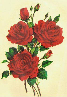 1 Bunch of 3 RED ROSES Vintage Decals Transfer Shabby Chic Furniture  Upcycling