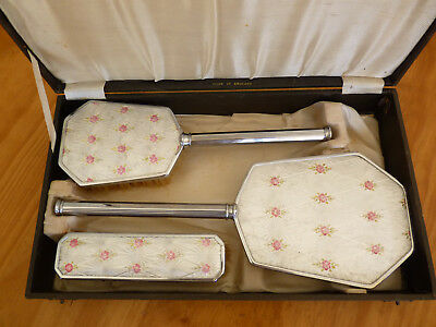VINTAGE English 3-pc Dressing Table Set w/ Rose Detail on Silver AMALEX  in Box