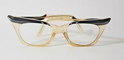 FABULOUS VINTAGE 50's WINGED BUTTERFLY SPECTACLES GLASSES BLACK & PEARL