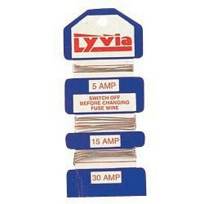 New Card Of Assorted Consumer Fuse Wire - 5, 15 & 30 Amp