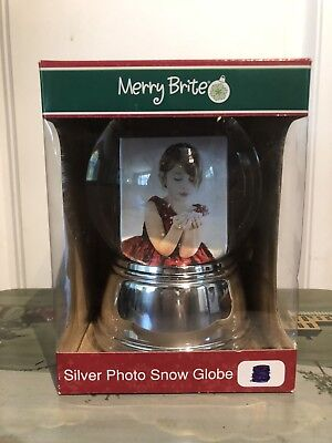 Large Photo Snow Globe with Silver Base, New