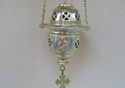 Vintage metal silver plated,christian religious  hanging candle incense burner