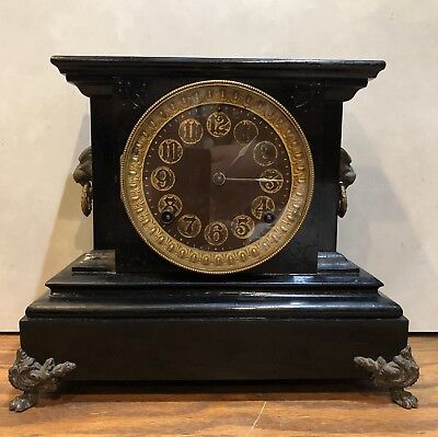 "Ansonia ""La Duchesse"" Black Cast Iron Metal Footed Mantle Table Clock"