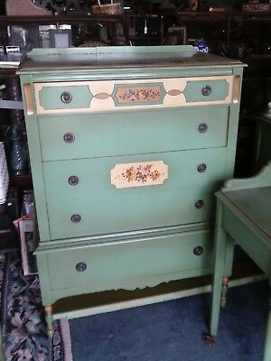 1920s 7pc ANTIQUE PAINTED COTTAGE BEDROOM FURNITURE SET W/ DOUBLE BED BY LAUTER