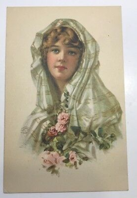 VINTAGE POSTCARD published by GIBSON ART CO, lady with scarf & flowers unposted