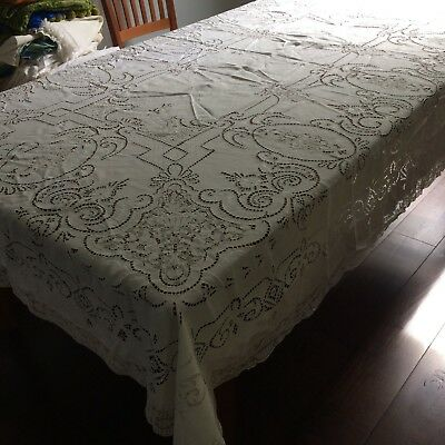 Antique? vtg tablecloth linen figural needle lace embroider open work 98x68 LOOK
