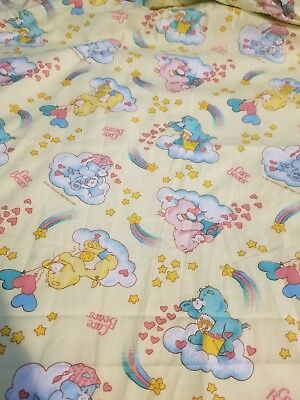 Vtg 1983 Care Bears Crib Fitted Bed Sheet + Diaper Stacker American Greetings NW