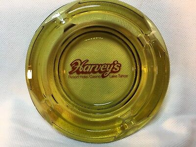 "Harvey's Casino, Reno Nv, Vintage Ashtray, 4.25"" Smoked Amber Script"