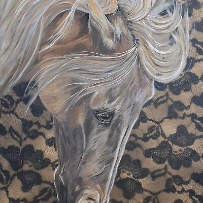 """Original horse Oil painting on canvas hand painted """"Wild lace"""""""