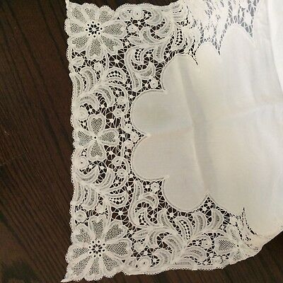 "Antique silky ivory linen table runner batternburg tape lace 37"" VICTORIAN CHIC"