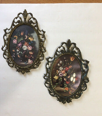 Vintage Pair Ornate Metal Brass Oval Picture Frame Convex Glass made in Italy .