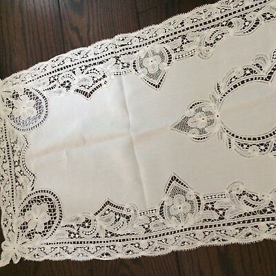 "Antique silky ivory linen table runner batternburg tape lace 57"" VICTORIAN CHIC"