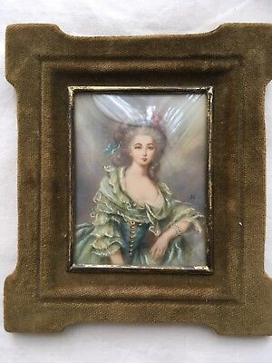 Antique 19th Victorian Century miniature portrait painting of a young woman