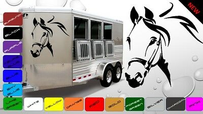 2x Large Horse Horsebox Trailer Vinyl Stickers Decals Graphics (BWP56)