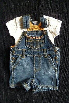 Baby clothes UNISEX BOY GIRL 0-3m outfit cuteTimberland denim dungarees/bodysuit