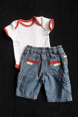 Baby clothes UNISEX BOY GIRL newborn 0-1m outfit denim trousers,red,greybodysuit