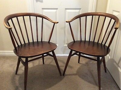 A Pair of Vintage Ercol Windsor Cowhorn Chairs Original Unrestored. 1960s.