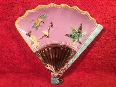 Antique Majolica Fan, Flowers & Dragonfly Plate c.1800's, em149