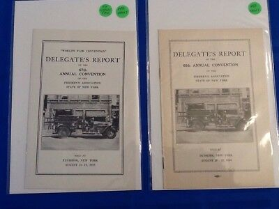 Firemen's Assoc. State Of New York. 1939 & 1940 Delegates Reports. Worlds Fair..