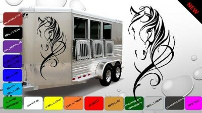 2x Large Horse Horsebox Trailer Vinyl Stickers Decals Graphics (BWP57)