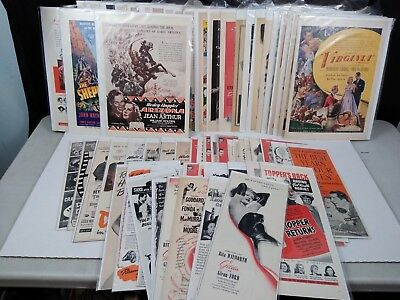 Huge Lot of Vintage 1940's-50's Magazine Advertising Ad's MOVIES Hollywood