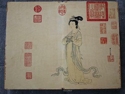 Chinese Collection Very long Hard skin painted old books Marks  -Du Qiuiang