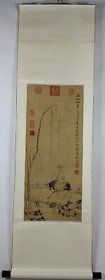 Old Chinese Ink On Paper Scroll Painting Of A Man On A Horse