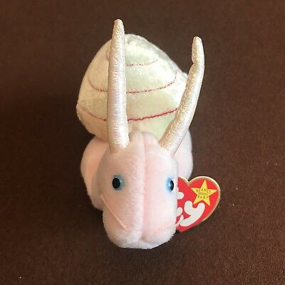 32e87665314 Ty Beanie Babies Swirly The Pink Snail Iridescent Horns Rare Errors on Tush  Tag