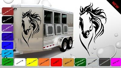 2x Large Horse Horsebox Trailer Vinyl Stickers Decals Graphics (BWP58)