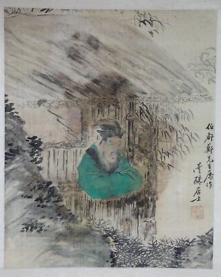 Old Chinese Watercolor On Silk Painting Of A Scholar By The Window