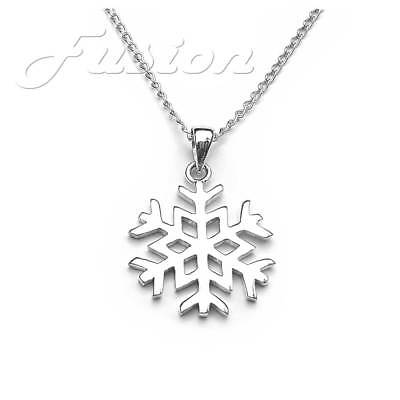 Solid .925 Sterling Silver Large Snowflake Pendant Necklace & Curb Chain P056