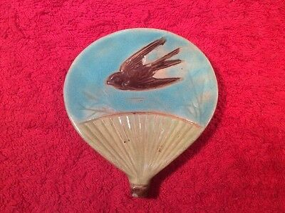 Antique Majolica Butter Pat Plate Sparrow on Fan c.1800's, fm1094