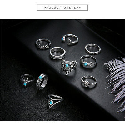 10pcs Bohemian Women Mid Ring Set Vintage Crescent Joint Knuckle Rings G