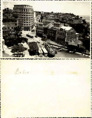 Praca Bahia Brazil trolley tram station old cars real photo NOT a postcard