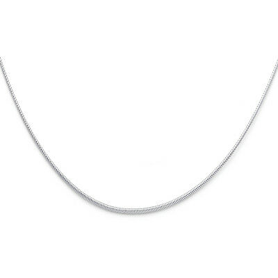 "Real 14k White Gold 1MM Sparkle Omega Necklace Chain 17"" Inch For Women Ladies"