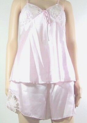 Sexy Pink Satin Lacy floral shorts and camisole top set Sz M