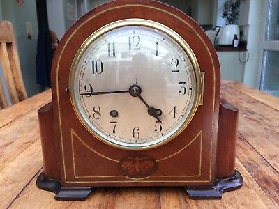 Stunning Art Deco Mahogany And Shell Inlaid Empire 8 Day clock fully serviced