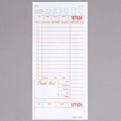 Choice 1 Part Tan & White Check with Beverage Lines and Bottom Receipt -250/Pack