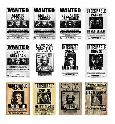 Harry Potter Hogwarts Wanted POSTERS A4 A3 ROOM DECO BUY 1 GET 2 FREE